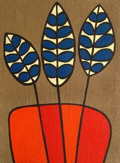 flowers birthday GreenBox Art 'Burlap Botanical Delphinium Orange' by Lisa DeJohn Painting Print on Wrapped Canvas Painting Prints, Art Prints, Paintings, Stoff Design, Mid Century Art, Art Abstrait, Flower Art, Folk Art Flowers, Watercolor Art