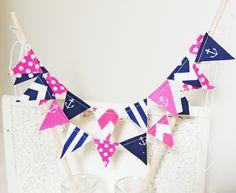 Party Mini Cake Bunting, Navy Blue, Hot Pink Anchors, Chevron, Polka Dots, Birthday Party, Summer Wedding, Baby Shower via Etsy