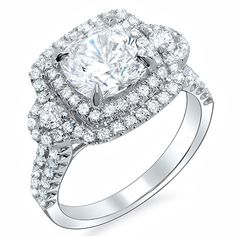 halo cushion cut diamond engagement ring