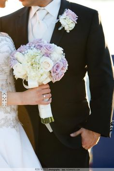 Shireen's Bridal Bouquet. December 2011. White Hydrangeas, Ivory & Lavender Roses. Groom's Boutonniere