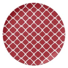 Cranberry Red and White Moroccan Quatrefoil Party Plate from the The Dots & Stripes Pattern Store.