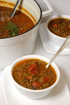 Lentil-Sausage Soup - Savor the Best Lentil Sausage Soup, Turkey Sausage, Crockpot Recipes, Soup Recipes, Hot Soup, Curries, Chowders, Soups And Stews, Food For Thought