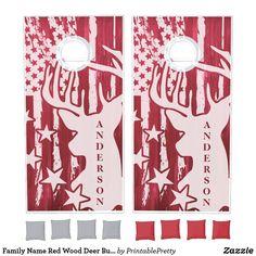 Family Name Red Wood Deer Buck American Flag Cornhole Set Custom Cornhole Boards, Cornhole Set, Cross Beam, Red Flag, School Colors, Sparklers, Wall Tapestry, American Flag, Deer