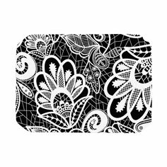 "Petit Griffin ""Floral Lace BW"" Abstract Modern Place Mat"