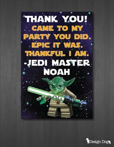 Star Wars Lego Thank You Card by TheDesignDog on Etsy, $4.99