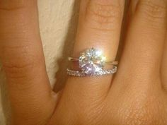 THIS IS IT. Plain thin engagement band, solitaire round diamond, diamond wedding band. IN LOVE!!!!