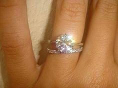 Plain thin engagement band, solitaire round diamond, diamond wedding band