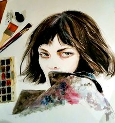 "Watercolor + pencils 30"" by 20""  Photo inspiration: GREY Magazine From the editorial ""Post Rave"" w/ Valentino"