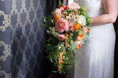 Cascading Bouquet Flowers Bride Bridal Crafty Pastel Pink & Orange Autumn Wedding http://www.sarareeve.com/