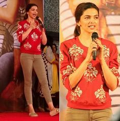 Deepika Padukone wearing Monisha Jaisingh mughal motif sweatshirt