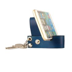 Leather keychain with smartphone stand. Leather key fob Perfect gift for traveler, birthday, Father's day, groomsmen etc..