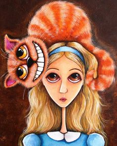 ACEO PRINT Alice in Wonderland series art Cheshire cat on her head  #Modernism