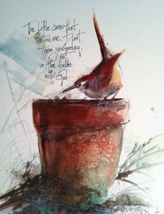 Watercolor of Garden Wren resting on flower pot