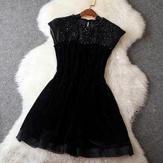 Fashion organza velvet dres..