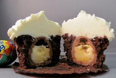 cake These Cadbury creme egg cupcakes would be perfect for Easter. It's a chocolate cupcake, with a creme egg baked inside