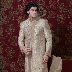 Cream Pure Banarasi Silk Readymade Sherwani