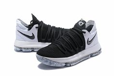 """official photos c72f0 f7be7 2018 New Nike KD 10 """"Black White"""" Men s Basketball Shoes 897815-008"""
