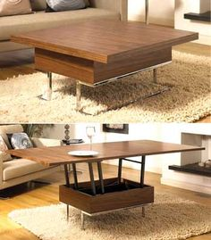 This Convertible Coffee Table is a great space saver. Instead of two separate items of furniture, you just now need 1 piece of this well-designed, smart and flexible coffee table. During the day you'll have a nice coffee table, and when is time for dinner the coffee table can can be lifted up and transformed to a higher, larger dining table, as showed in these pictures.
