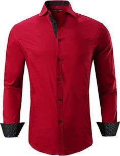 Hokny TD Men Business Long Sleeve Solid Non-Iron Spread Collar Dress Shirts