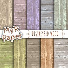 Wood Digital Paper - Distressed Wood - Rustic Wood - Background Wood - Color:  Pink, Yellow, Green, Grey, Violet, Orange