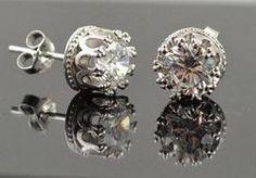 925 Sterling Silver Zircon Earrings CZ Diamond Stud Diamond Studs, Diamond Earrings, Stud Earrings, Bling, Sterling Silver, Detail, Diamonds, Accessories, Jewellery