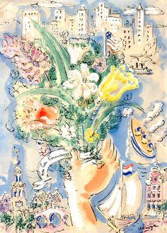 En bon Souvenir> Gerard Hordijk   Hordijk was in de VS aan de Duitse bezetting ontsnapt. Hij organiseert in NY met regelmaat groepsexposities waaraan veel Europese artiesten, die ook in New York wonen, belangeloos deelnemen. Met de opbrengsten uit de verkoop van schilderijen steunen zij kunstenaars in Europa die een tekort aan materiaal hebben om te kunnen schilderen. Gerard kwam in 1948 van Scarsdale (Amerika) weer naar Nederland.  NY>Amsterdam