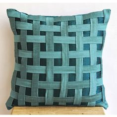Decorative Throw Pillow Cover Couch Pillow Sofa Inch Silk Pillow Cover Basket -Peacock Green N Teal : Decorative Throw Pillow Cover Couch Pillow Sofa Inch Silk Pillow Cover Peacock Green N Teal Basket Weave Home Living Decor Houseware Blue Pillow Cases, Blue Pillows, Toss Pillows, Couch Pillows, Decorative Throw Pillows, Cushion Covers, Throw Pillow Covers, Silk Pillow, Sewing Pillows