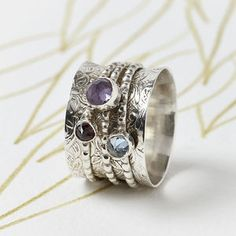 Handmade Gemstone Silver Spinning Ring - women's jewellery http://www.thesterlingsilver.com/product/miore-msg001-womens-jewellery-set-necklace-earrings-heart-diamond-sterling-silver-925-mset005/