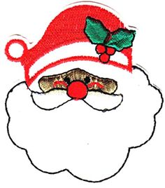"[Single Count] Custom and Unique (2 5/8"" x 2 1/2"" Inches) Seasonal Holiday Festive Xmas Saint Nicholas Smiling Santa Clause Face Iron On Embroidered Applique Patch {Red, Green, Gold & White Colors} mySimple Products"