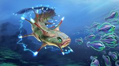 Subnautica: Ampeel by Jengineerr on DeviantArt Subnautica Concept Art, Alien Concept Art, Creature Concept Art, Subnautica Creatures, Deep Sea Creatures, Underwater City, Underwater Creatures, Creature Feature, Creature Design