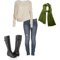 Cream Long Sleeve Shirt, Skinny Jeans, Olive Green Scarf, & Black Boots