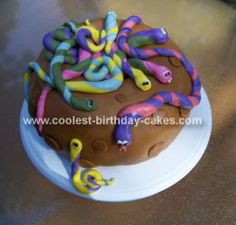 Homemade Snake Birthday Cake: This Snake Birthday Cake is a very forgiving cake, which is why I chose it for my first attempt at fondant. It is from 50 Easy Party Cakes. Cake: White