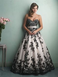 Style: 9150 - Allure Bridals Fall 2014 - Great for the bride who doesn't want the traditional white or ivory gown. Allure Bridals has the most beautiful and intricate lace details on their gowns!