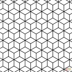 Geometric Tessellation with Rhombus Pattern | Super Coloring