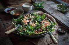 Kale salad with smoked trout, haloumi, chickpeas, chimichurri & tahini yoghurt