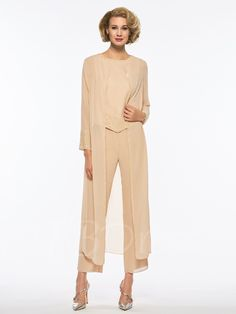 Chiffon Long Sleeves Mother of the Bride Jumpsuit - Cute Dresses Mother Of The Groom Gowns, Mother Of The Bride, Plus Size Dresses, Cute Dresses, Bride Dresses, Ladies Dresses, Column Dress, Mothers Dresses, Floor Length Dresses