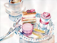 beautiful watercolour painting of pastries