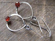 Garnet Wire Wrapped Earrings