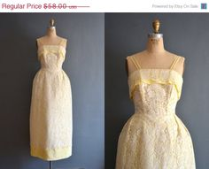 SALE  40% OFF SALE 60s yellow dress / vintage 50s by BreanneFaouzi
