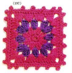Motivos coloridos hexagonais e squares de crochê