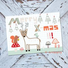 """Greeting card for the winter holidays """"Merry X-mas"""" featuring cute deer, squirrel, mushrooms and handwritten lettering.  Designed by Artibonita"""
