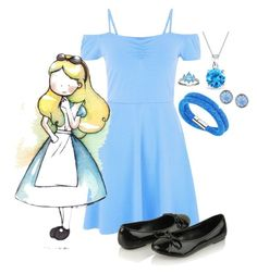 """""""Chibi Alice"""" by potterhead42 ❤ liked on Polyvore featuring Disney, Forever 21, Swarovski, Bling Jewelry and Lonna & Lilly"""
