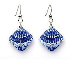 Shell Mollusk Pattern Earrings - Diamond - Clear White