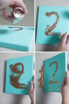 DIY glittered canvas table numbers... in turquoise, peach, and gray!