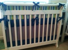 Ready to Ship Mini Crib Bedding Set Blue by butterbeansboutique, $259.00