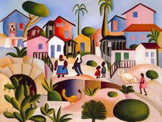 Obra 'Morro da Favela' de Tarsila do Amaral de 1924 / Crédito: Divulgação