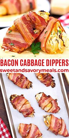 Bacon Cabbage Dippers are juicy and crisp, budget friendly and very easy to make. #baconwrapped #cabbagedippers #baconcabbagedippers #sweetandsavorymeals #cabbagerecipes