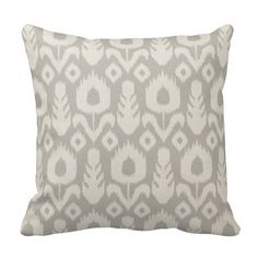 Ikat Floral Pattern Light Grey and Natural Throw Pillows  | Visit the Zazzle Site for More: http://www.zazzle.com/?rf=238228028496470081 [Referral Link]