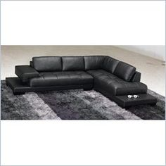 Modern Half Leather Right Side Facing Sectional Sofa in Black Compare