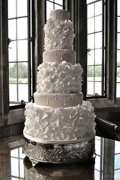 Regal white Petals and Pearls Wedding Cake